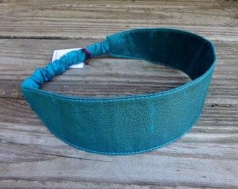 Fabric Headband with elastic: Peacock Teal Silk