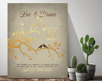 Tree art 40th anniversary 10th anniversary 5th anniversary gift 25th anniversary wedding anniversary gift for parents parents gift dad gift