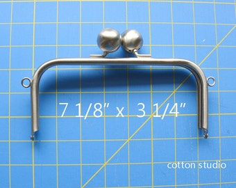 Antique Silver Metal Purse Frame Big Beads 7 1/8 IN x 3 1/4 IN