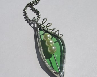 Three Peas in a Pod Peapod Stained Glass Pendant - Upcycled Glass Jewelry