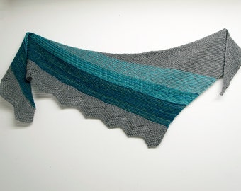 Sale Blue Ocean Handspun Shawl, Hand knit shawl, Blue Turquoise, Merino and Alpaca, Bamboo and Angora, Grey