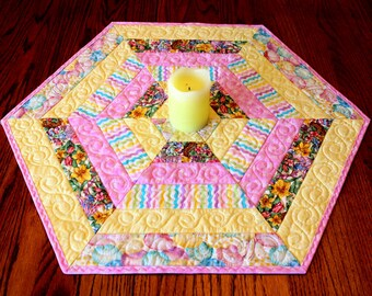 Hexagon Quilted Easter Table Topper Or Candle Mat Table