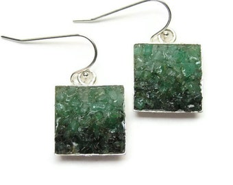 Emerald Earrings - Custom Mosaic Jewelry