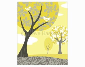 Gray and Yellow Landscape Art Print