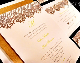 Monogram Lace Custom Unique Wedding Invitation Flourish Damask Classic Vintage Spring Summer Fall Winter Lined Sexy - Lovely Lace Design