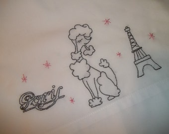 French Poodle Pillowcase ~ Embroidered Pillowcase