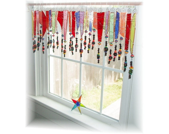 ... and Classy Stained Glass Window Treatment Kitchen Valance Curtain