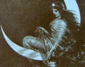Vintage Art Deco Gypsy Nude Cards Lady in Moon throwing Glitter