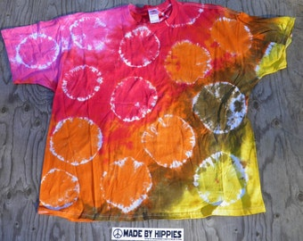 Wild Animals Spots&Dots Tie Dye T-Shirt (Fruit of the Loom Size 3XL) (One of a Kind)