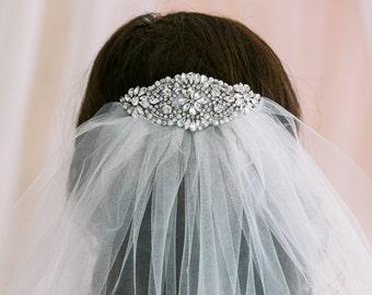 2 Layer Bridal Veil with Crystal Comb, Wedding Veil, Blusher Veil