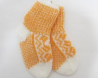 Handknitted baby socks Selbu from Norway