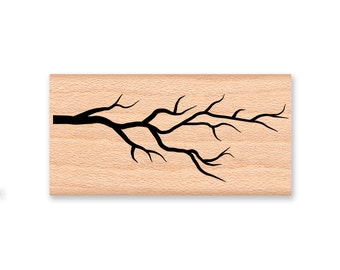 TREE BRANCH Rubber Stamp~Silhouette Branches~BareTwigs~Woods Forest Rustic Decor~Winter Fall Autumn Season DIY Crafts~wood mounted  (32-25)