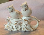 Bird Salt and Pepper Shakers. Napco, Bedford Ohio 1961. White with gold painted accents.