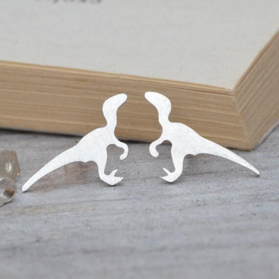 Velociraptor Earring Studs, Dinosaur Earring Studs In Sterling Silver, Handmade In The UK