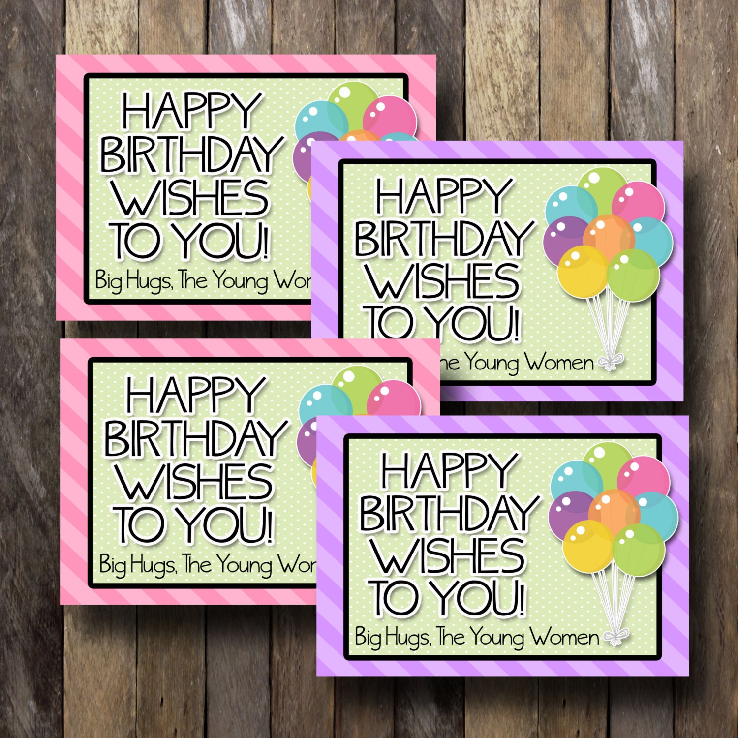 lds young women birthday cards 4 35x5 cards