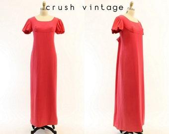 60s Emma Domb Dress Small / 1960s Watteau Back Maxi Dress / Caliente Gown