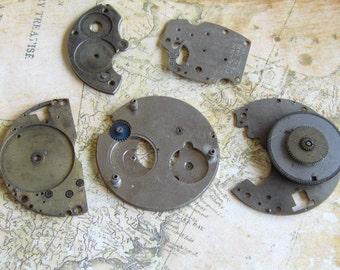 Vintage Antique Watch movements parts Steampunk - Scrapbooking b7