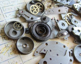 Vintage WATCH PARTS gears - Steampunk parts - W72 Listing is for all the watch parts seen in photos