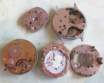 Vintage Antique Watch movements parts Steampunk - Scrapbooking u55