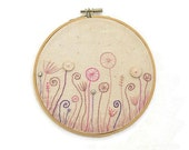 """Hand Embroidery Hoop Wall Art """"Summer evening meadow""""- hand embroidered 6,5"""" wall hanging"""
