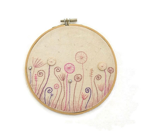"""SALE! Hand Embroidery Hoop Wall Art """"Summer evening meadow""""- hand embroidered 6,5"""" wall hanging"""