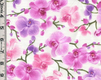 Fabric TimelessFabric Timeless ORCHIDS tossed on white pink lavender C3209  BTHY