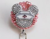 Nurse Minnie Mouse Light Silver Silhouette ID Badge Reel - Retractable ID Badge Holder - Zipperedheart