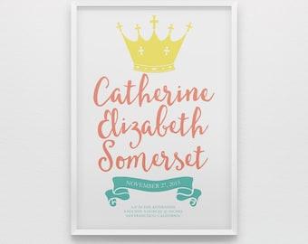 Princess art, coral turquoise teal