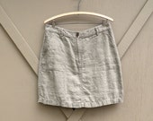 vintage L.L. Bean Natural Khaki Linen Skirt