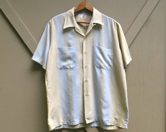 60s vintage Sand and Pale Blue Striped Short Sleeve Button Down Shirt / Mid Century Dress Shirt / Donegal Neva-Press