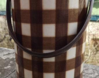 Retro Ice Bucket  Cooler Brown and White Plaid Insulated