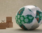 Toy Ball with a Rattle Inside - Fleeting Fox - Aqua and Green - Organic Cotton with Metallic Silver Vegan Leather