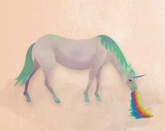 Illustration art print, Field Guide to Unicorns: Spewnicorn