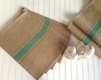French Grain Sack  Burlap Placemats   with Green stripes   Farmhouse / Lake House / Cottage Chic Design
