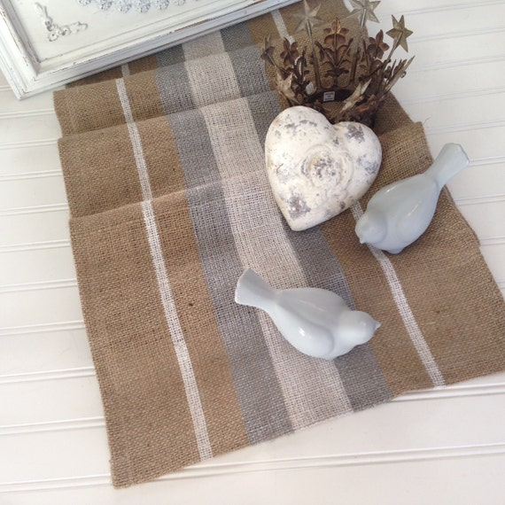 French Grain Sack style Burlap Table Runner Farmhouse/Beach/Coastal/Lakehouse/Rustic