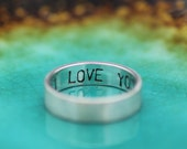 Promise Ring - Mens or Womens Personalized Inscription Text Message Boyfriend or Girlfriend Band