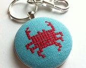 Crab stitched key chain, free US shipping