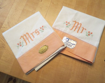 SALE Vintage Mr and Mrs Embroidered Pillow Cases Pennicraft Old Stock with Tags