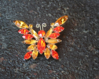 Vintage Hyacinth and Yellow Topaz Butterfly Brooch