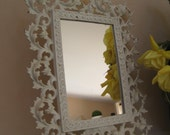 Large Ornate French Rococo Standing Mirror Vanity Mirror or Frame Cast Iron Art White Paint Mid Century