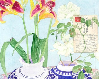 Day lilies and letter: Gabby Malpas watercolour C6 greeting card and envelope