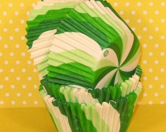 Green Apple Lollipop Swirl Cupcake Liners  (32)
