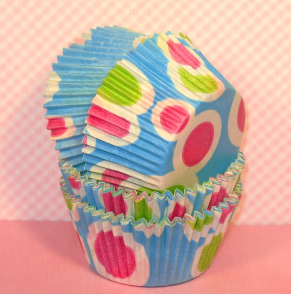 Neon Hot Dots Cupcake Liners  (32)  Turquoise Cupcake Liners Turquoise Polka Dot Cupcake Liners, Turquoise Baking Cups, Turquoise Muffin Cup