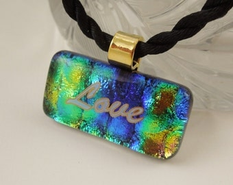 Faith Hope Love - Dichroic Fused Glass - Scripture Jewelry - Scripture Pendant - Bible Quote Jewelry - Corinthians 13:13 Bible Verse X2871