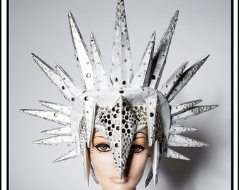Ice Pick … Spiked Helmet in Silver and White Headdress