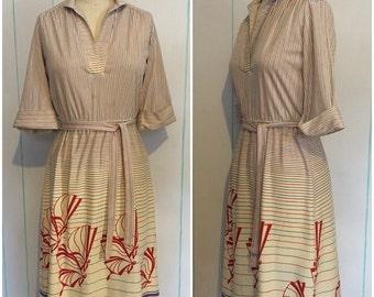 Butterfly Print Striped Dress Size