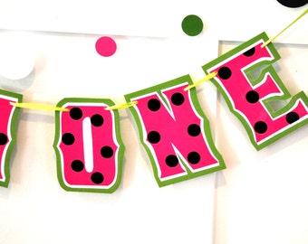 Watermelon Birthday Party Decor, I AM ONE Banner,Watermelon Highchair Banner, 1ST Birthday Banner, Pink Watermelon Birthday Banner