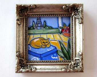 Yellow Cat Original Acrylic framed Painting, Eiffel Tower,  Landscape, French Country Decor, gift idea