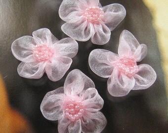 10 pcs - 30mm chiffon flower appliques - AP009