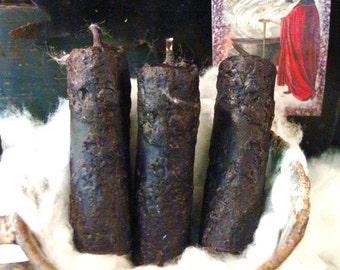 "Blackened Beeswax Candles, Primitive Halloween Candles, Scented Beeswax Candles, 3"" Nubby Candles, Primitive Halloween Decor"